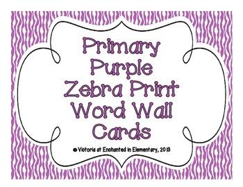 Primary Purple Zebra Print Word Wall Cards