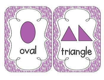 Primary Purple Zebra Print Shape Cards
