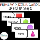 Primary Puzzle Cards 2D and 3D Shapes