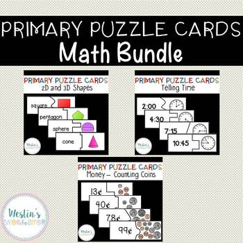 Primary Puzzle Cards Math BUNDLE