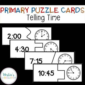 Primary Puzzle Cards Telling Time