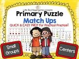 Primary Puzzle Match Ups (Alphabet-Digraphs-Number Sense 1-10)