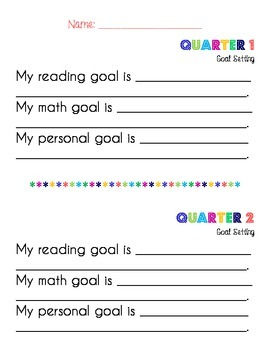 Primary Quarterly Goal Setting - Reading, Math, Personal