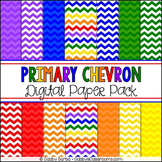 Primary Rainbow Chevron Digital Paper Pack