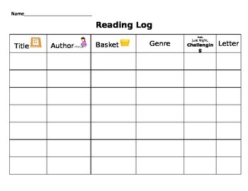 Primary Reading Log