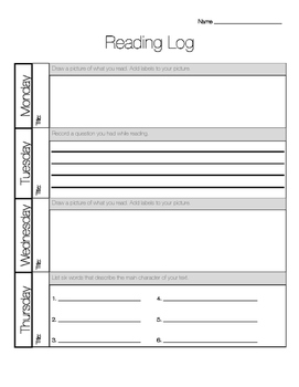 Primary Reading Log