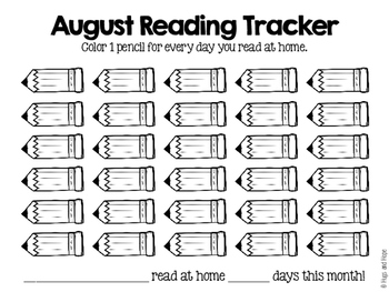 Monthly Home Reading Trackers (PreK-2nd)