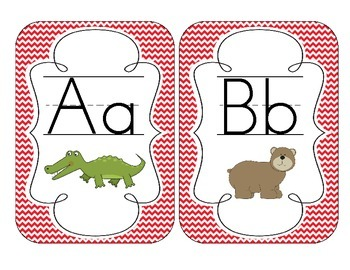 Primary Red Chevron Alphabet Cards