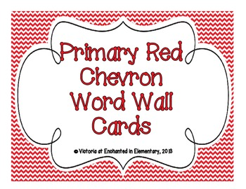 Primary Red Chevron Word Wall Cards