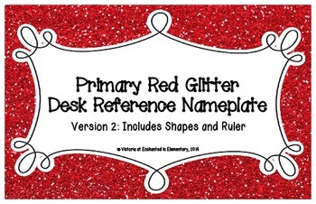 Primary Red Glitter Desk Reference Nameplates Version 2
