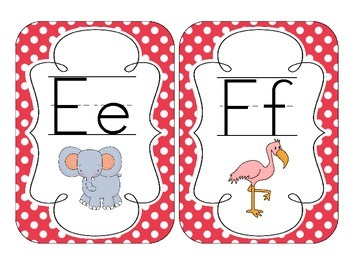 Primary Red Polka Dot Alphabet Cards