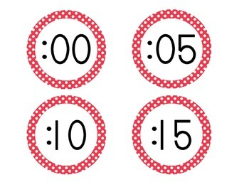 Primary Red Polka Dot Clock Numbers
