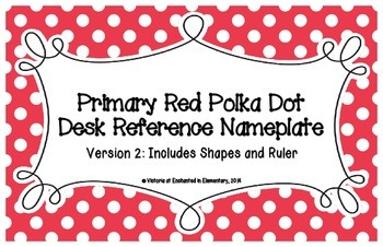 Primary Red Polka Dot Desk Reference Nameplates Version 2