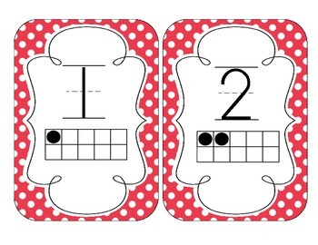 Primary Red Polka Dot Number Cards 1-20