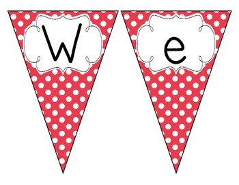 Primary Red Polka Dot Welcome Pennant