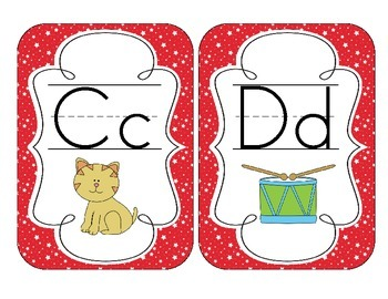 Primary Red Starry Skies Alphabet Cards