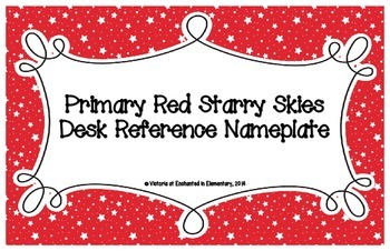 Primary Red Starry Skies Desk Reference Nameplates