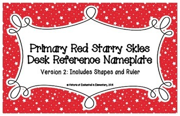 Primary Red Starry Skies Desk Reference Nameplates Version 2