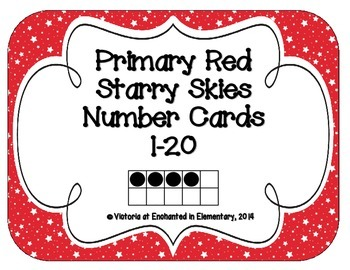 Primary Red Starry Skies Number Cards 1-20