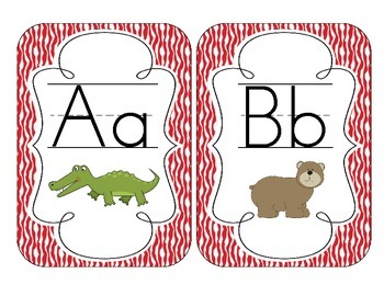 Primary Red Zebra Print Alphabet Cards