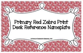 Primary Red Zebra Print Desk Reference Nameplates