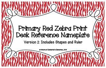 Primary Red Zebra Print Desk Reference Nameplates Version 2
