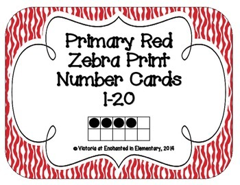 Primary Red Zebra Print Number Cards 1-20