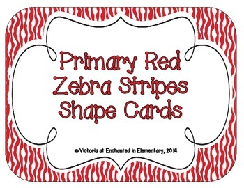 Primary Red Zebra Print Shape Cards