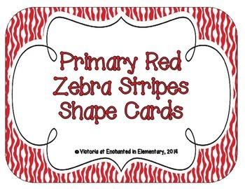 Primary Red Zebra Print Shape Cards