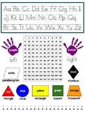 Primary Reference / Cheat Sheet - Alphabet, 120 chart, number line, colors, 2D
