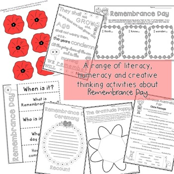 Remembrance Day Activities Australia - Writing / Maths - Years 3 - 6