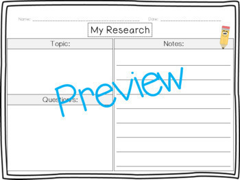 Primary Research Templates and Graphic Organizers!