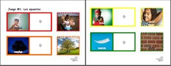 Primary SPANISH LANGUAGE file folder game OPPOSITES