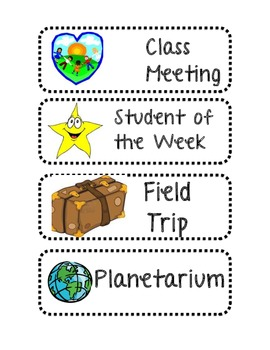 Primary Schedule Cards