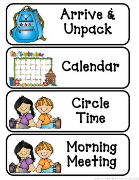 Primary Schedule Cards - DJ Inkers Clipart