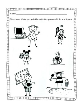 Primary School Areas of the Library Assessment Bundle