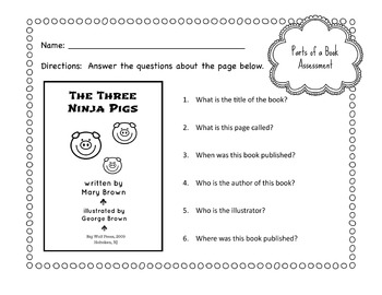 Primary School Parts of a Book Worksheet Bundle