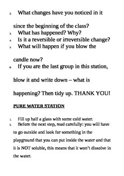 Primary School Science Experiments  - Material Changes