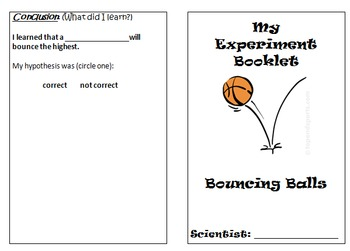Primary Science Experiment Booklet - Bouncing Balls