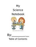 Primary Science Notebook Cover and Table of Contents