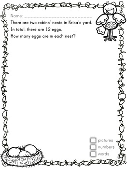 Primary Seasonal Open Math Problems - Spring - Ontario Grade 1
