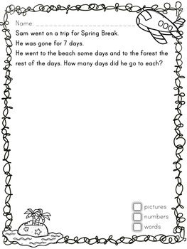 Primary (Kinder) Seasonal Open Math Problems - Spring - Ontario Kindergarten