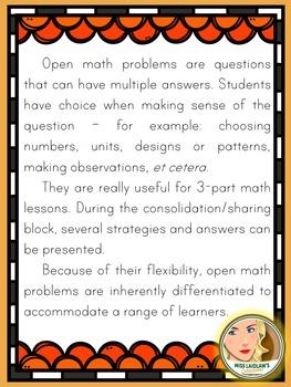 Primary Seasonal Open Math Problems - Fall/Autumn - Ontario Grade 1