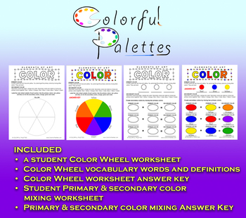 Primary Secondary Color Wheel Color Mixing Worksheets By