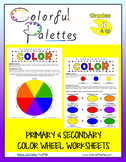 Primary & Secondary Color Wheel & Color Mixing Worksheets