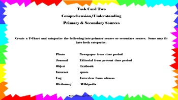 Primary & Secondary Source Task Cards