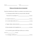 Primary/Secondary Sources Assessment
