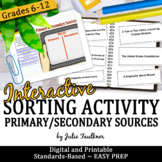 Primary and Secondary Sources Interactive Notebook Inserts, Sorting, Easy Prep