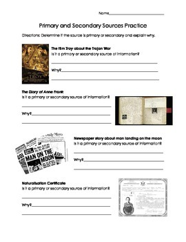 Primary & Secondary Sources Minilesson & Worksheet