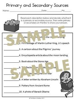 Primary & Secondary Sources Practice